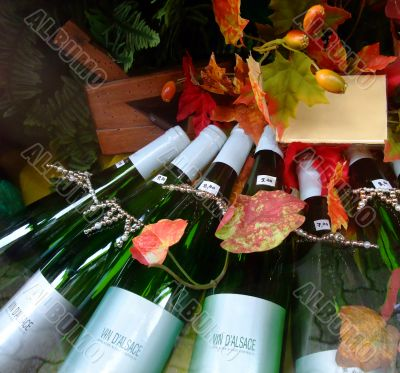 White wines bottles in Alsace region France