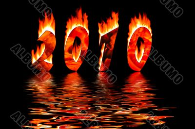 2010 new year numbers in fire flooding in water