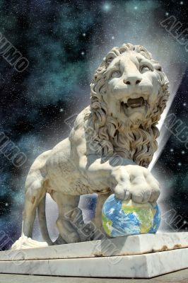 lion statue with earth