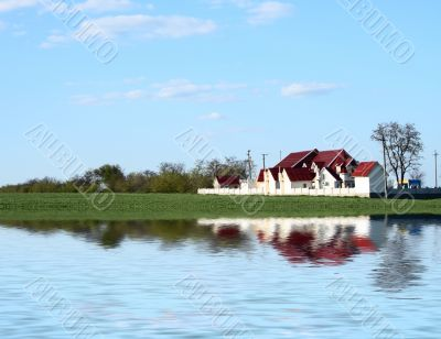 landscape with house flood water