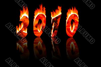 2010 new year numbers in fire with reflecting