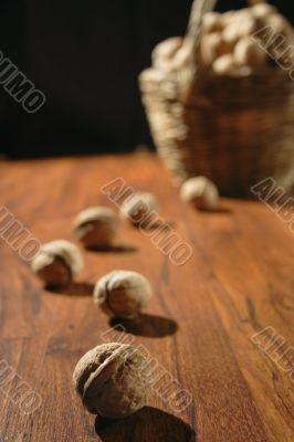 nuts on wooden surface