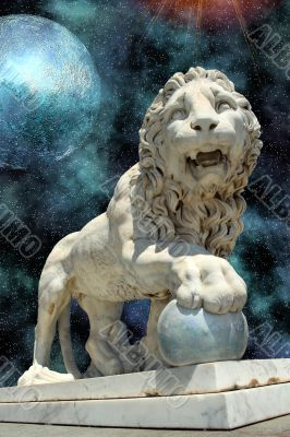 lion statue with blue planet