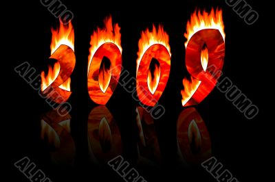 2009 new year numbers in fire reflect as 2010
