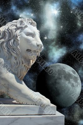 lion statue and planet in open cosmos