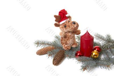 Bear and xmas decorations.
