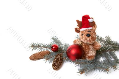 Bear and xmas decorations