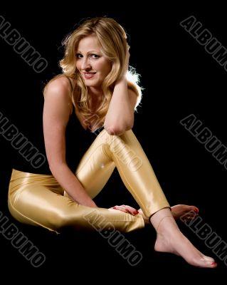 Woman in tight yellow pants