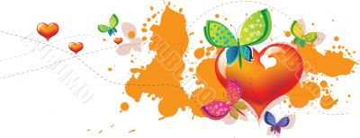 heart butterfly invitation card