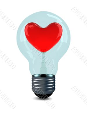 Red heart in bulb on white background. 3D image