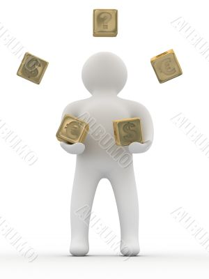 person throwing cubes. Isolated 3D image.