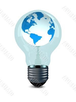 globe in bulb on white background. 3D image