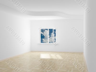 Empty room. Cloudscape behind the open window. 3D image