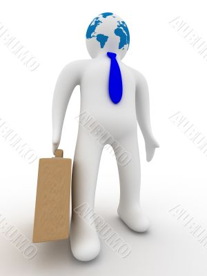 businessman on a white background. Isolated 3D image.