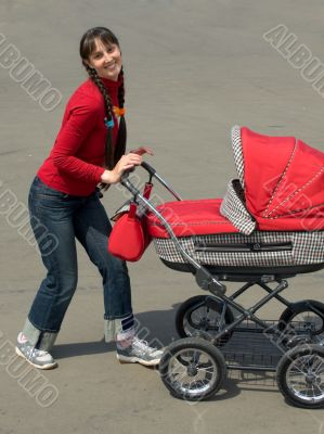 Woman with baby carriage