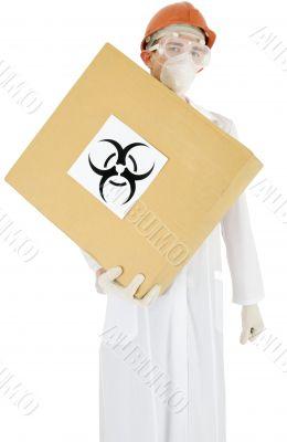Scientist and carton box