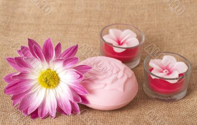 Relaxing spa scene with flower