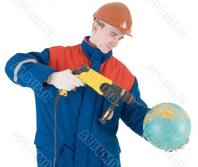 Builder, terrestrial globe and perforator