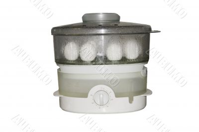 working steam cooker with 4 four eggs