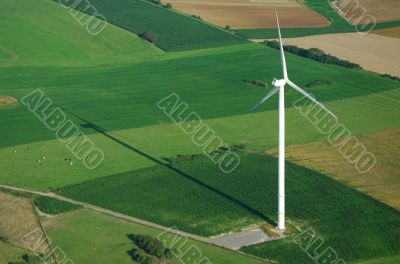 aerial view of windturbine and shadow
