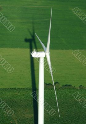 aerial view of wind turbine