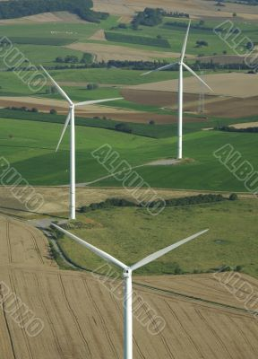 Aerial shoot of a wind farm in France Europe