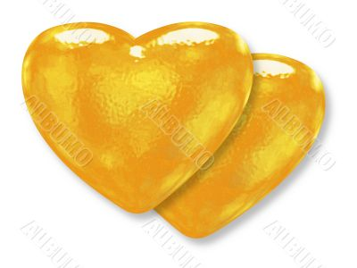 Two golden yellow pattern hearts - classic love symbol