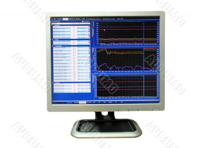 lcd monitor showing falling graphs, isolated over white background