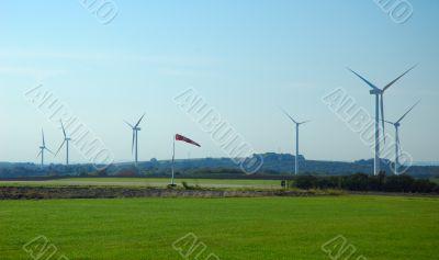 wind cone near a wind farm