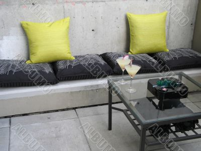 zen patio with pillows and chairs