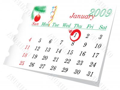 New Year calendar page January 2009