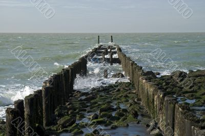North Sea beach with breakwater,Netherlands