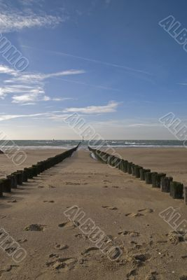 North Sea beach with breakwater,Netherlands