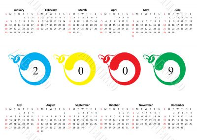 Calendar of 2009. Sunday is first