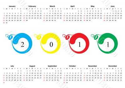 Calendar of 2011. Sunday is first