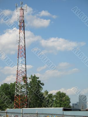 communication tower and blue sky