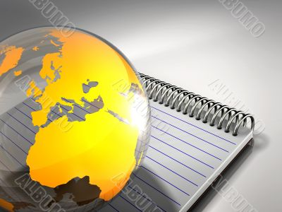 Yellow Globe And Blank Notepad