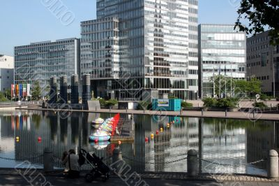 Koeln. The exhibition centre with reflection