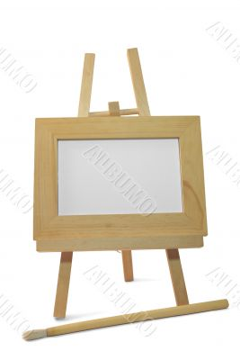 wooden frame on easel with clipping path