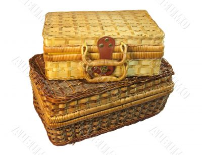 two wicker hamper isolated with clipping path