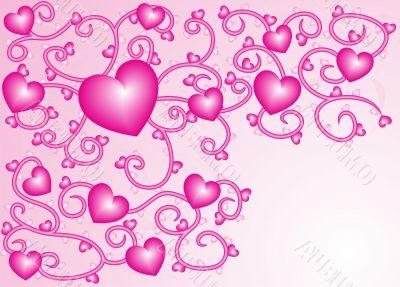 Pink hearts nacreous