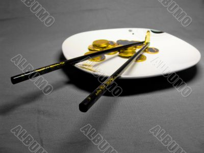 Coins on the plate