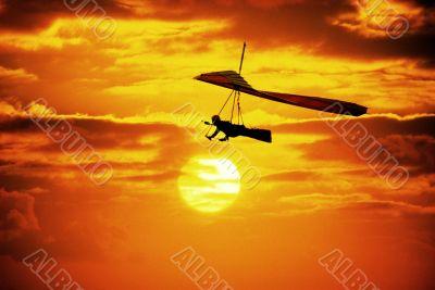 Hang gliding at Dusk