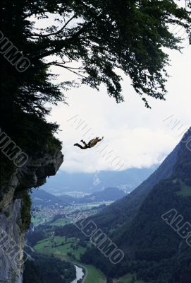 Base Jumper in the Mountains