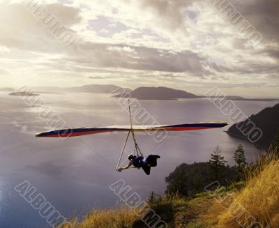 Hang glider Above Mountain Scenic