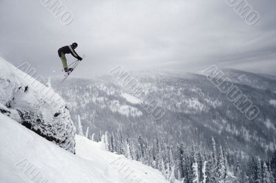 Skiier Performing Daredevil Stunt