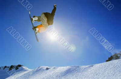 High Flying Snowboarding Stunt