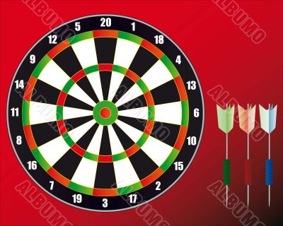 A set for game in Dart on a red background.