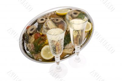 Champagne with fish plate, ash wednesday and Sylvester