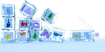 Ice cubes by a holiday of happy New year and Christmas